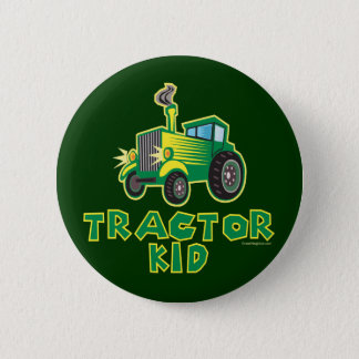 Green Tractor Kid Button