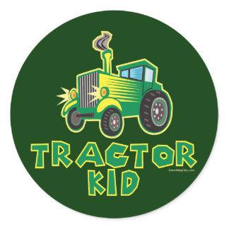 Green Tractor Kid Classic Round Sticker