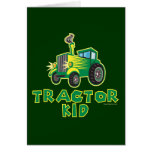 Green Tractor Kid Greeting Cards