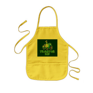 Green Tractor Kid Kids' Apron