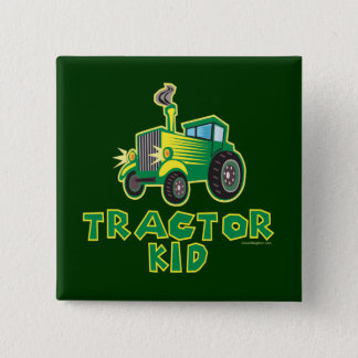 Green Tractor Kid Pinback Button