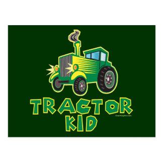 Green Tractor Kid Postcard