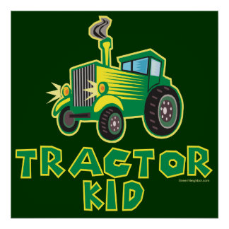 Green Tractor Kid Poster