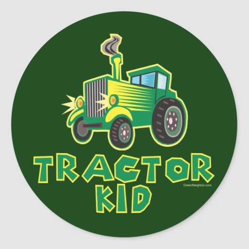 Green Tractor Kid Stickers
