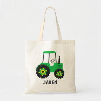 Green Tractor Kids Farm Barnyard Personalized Tote Bag