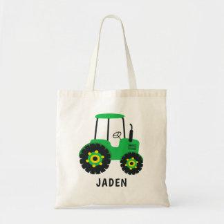 Green Tractor Kids Farm Barnyard Personalized Tote Bag