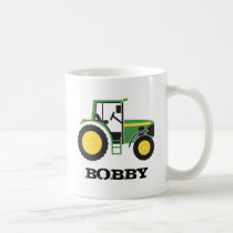 Green Tractor Mug With Name