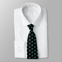 Green Tractor on Black Neck Tie
