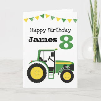Green Tractor Personalized Age Birthday Card