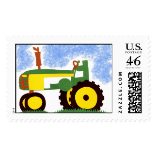 Green Tractor Postage Stamp