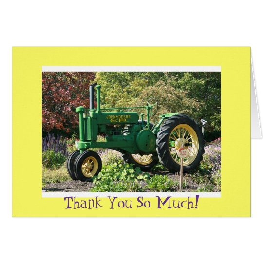 Green Tractor Thank You Card