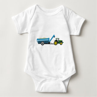 Green Tractor with Blue Grain Cart Baby Bodysuit
