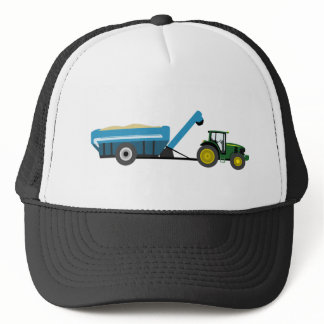 Green Tractor with Blue Grain Cart Trucker Hat