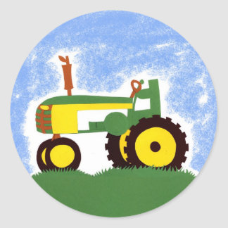 Green Tractor with Blue Sky Envelope Seal Sticker