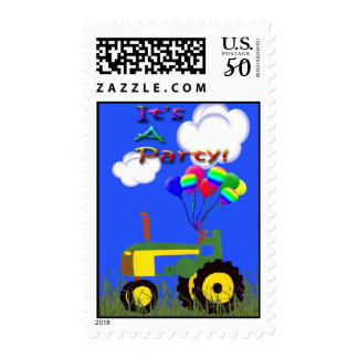 Green Tractor with Party Balloons Postage