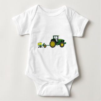 Green Tractor with Planter Cart Baby Bodysuit