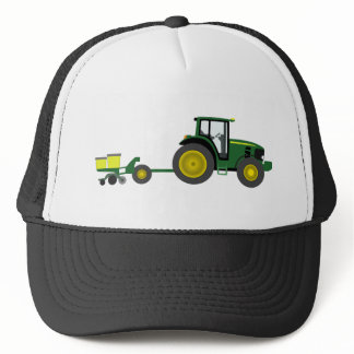 Green Tractor with Planter Cart Trucker Hat