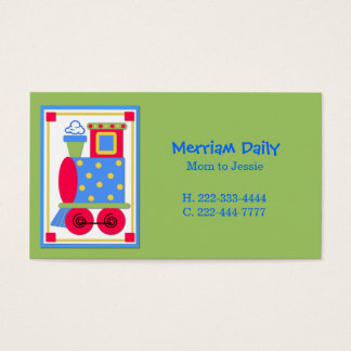 Green Train Engine Mommy Play Date Card