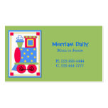 Green Train Engine Mommy Play Date Card Business Cards