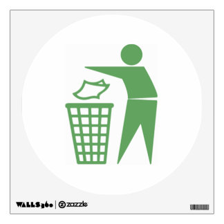 Green Trash Can Sign Wall Sticker