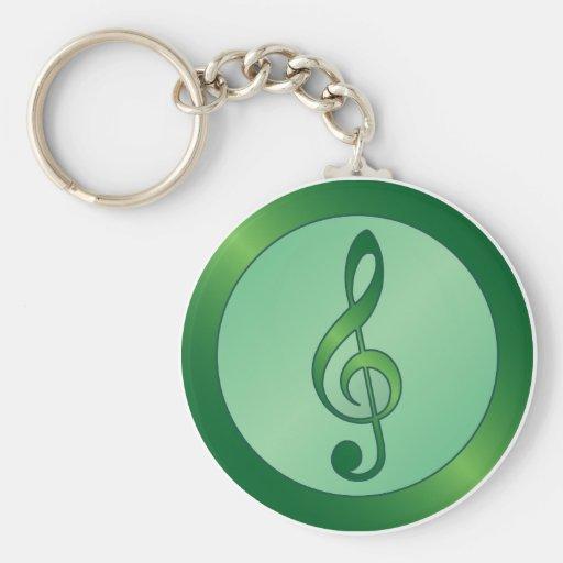 Green Treble Clef Basic Round Button Keychain