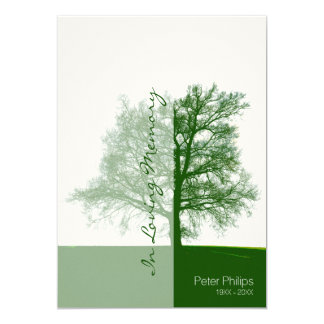 Green Tree 2- Celebration of Life Memorial Service 5x7 Paper Invitation Card