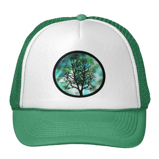 Green Tree Abstract Mountian Scene Hat