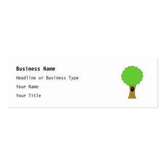 Green tree cartoon with creature. business cards