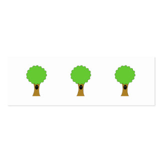 Green tree cartoon with creature. Double-Sided mini business cards (Pack of 20)