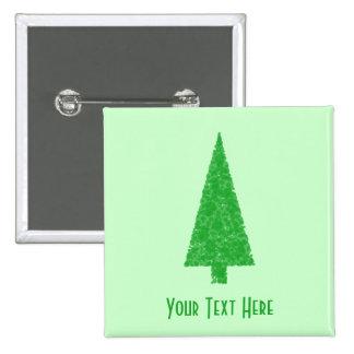 Green Tree. Christmas, Fir, Evergreen Tree. Pinback Button