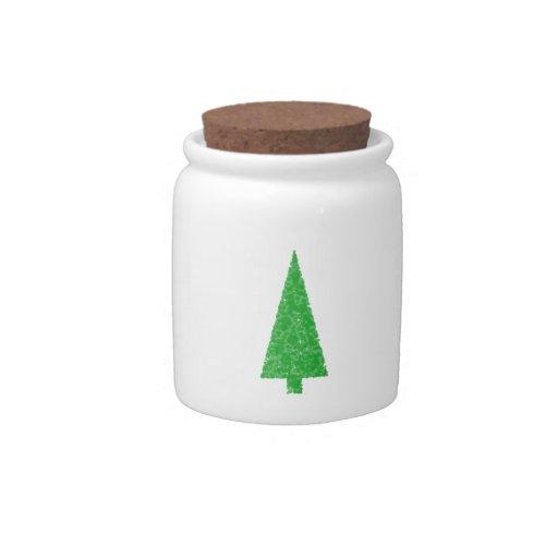 Green Tree. Christmas, Fir, Evergreen Tree. Candy Jar