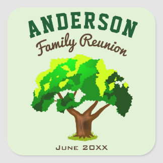 Green Tree Custom Name Family Reunion Square Sticker