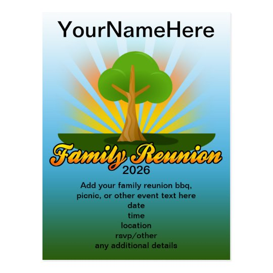 e1b0e8edf Green Tree Family Reunion Logo Postcard | Zazzle.com
