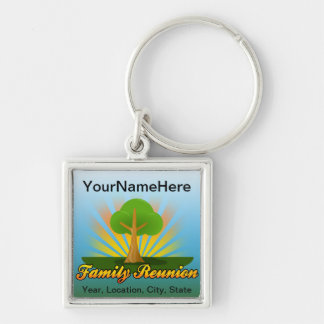 Green Tree Family Reunion Logo Silver-Colored Square Keychain
