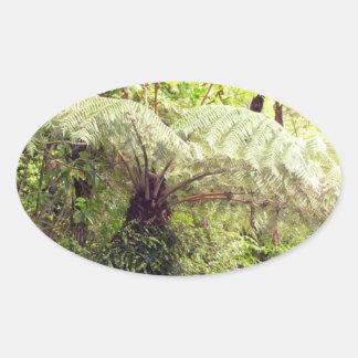 Green Tree Fern Oval Sticker