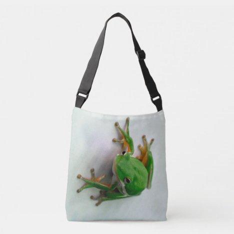 Green Tree Frog allover print cross body bag tote