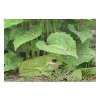 Green tree frog cloth placemat