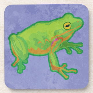 Green Tree Frog Drink Coaster