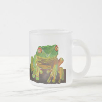 Green Tree Frog Frosted Glass Coffee Mug