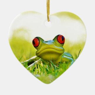 Green Tree Frog In The Grass Ceramic Ornament