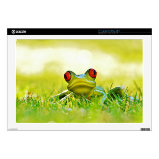 Green Tree Frog In The Grass Laptop Decal Skin