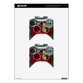 Green Tree Frog on Red Rose Xbox 360 Controller Skin