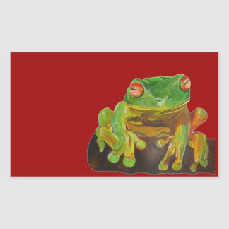 Green Tree Frog Rectangular Stickers