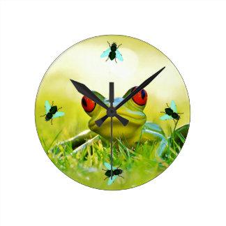 Green Tree Frog Wall Clock With Flies