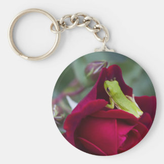 Green Tree Frogs and Red Roses Keychains
