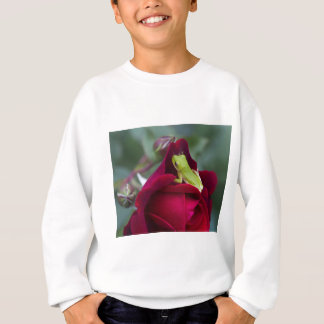 Green Tree Frogs and Red Roses Sweatshirt