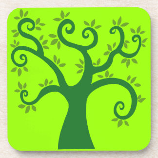 Green Tree graphic causes environment fairytale ca Drink Coaster