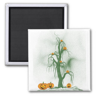 Green Tree Halloween 2 Inch Square Magnet