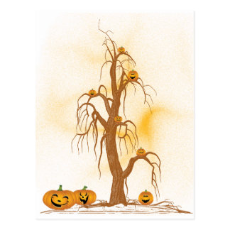 Green Tree Halloween Postcard