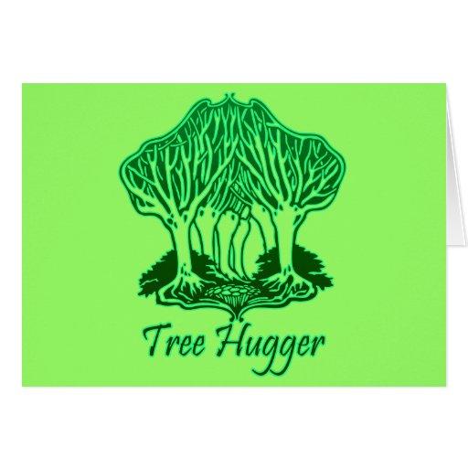Green Tree Hugger Nature Environment Trees Card